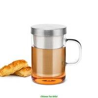500ml Medium Size Multiple Colour Handle Modern Borosilicate Glass Tea Cup With EU Food Grade Stainless