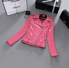 Spring pink blue black high quality motorcycle genuine leather jacket womens leather jackets and coats star style dress XS – 2XL