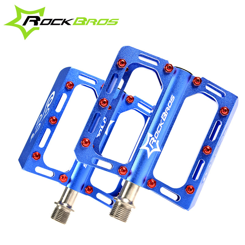 ROCKBROS 9/16Sealed Titanium Spindle Flat / Platform Pedals Professional Bike Cycle MTB Cycling Pedals bicycle Parts,5 Colors tito ultralight titanium mtb road bike axis pedals titanium bicycle pedals axis cycling platform cnc 1 pair titanium pedal