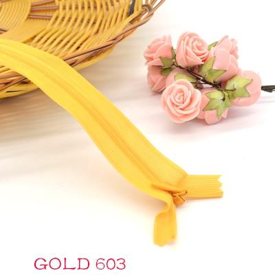 Новинка, 6 шт./лот, фирменная невидимая молния, 25 см/40 см/60 см, задняя подушка, юбка, скрытая, 3#, нейлоновая молния для шитья/одежды, аксессуары, сделай сам - Цвет: gold 603