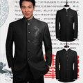 Hot 2015 otoño nueva marca casual hombres ropa prendas de vestir exteriores set vestido formal para hombre destacan chino collar traje túnica trajes del cantante