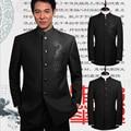 Hot 2015 outono nova marca homens roupas outerwear conjunto vestido formal masculino gola chinesa túnica terno cantor trajes