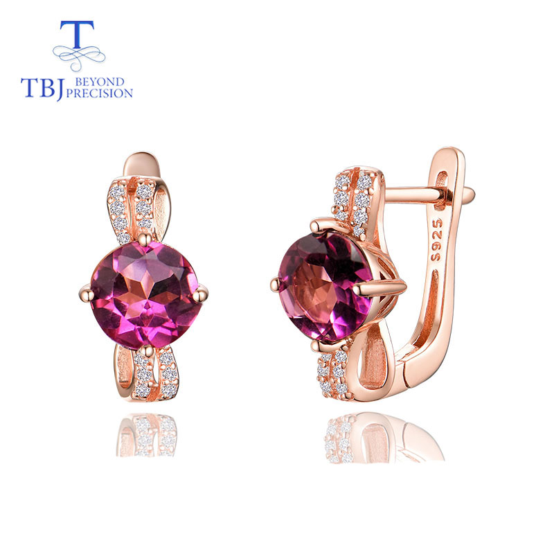 TBJ,simple Cute Natural Brazil Pink Topaz Round 7mm 3ct Gemstone Clasp Earring 925 Sterling Silver Fine Jewelry For Girls