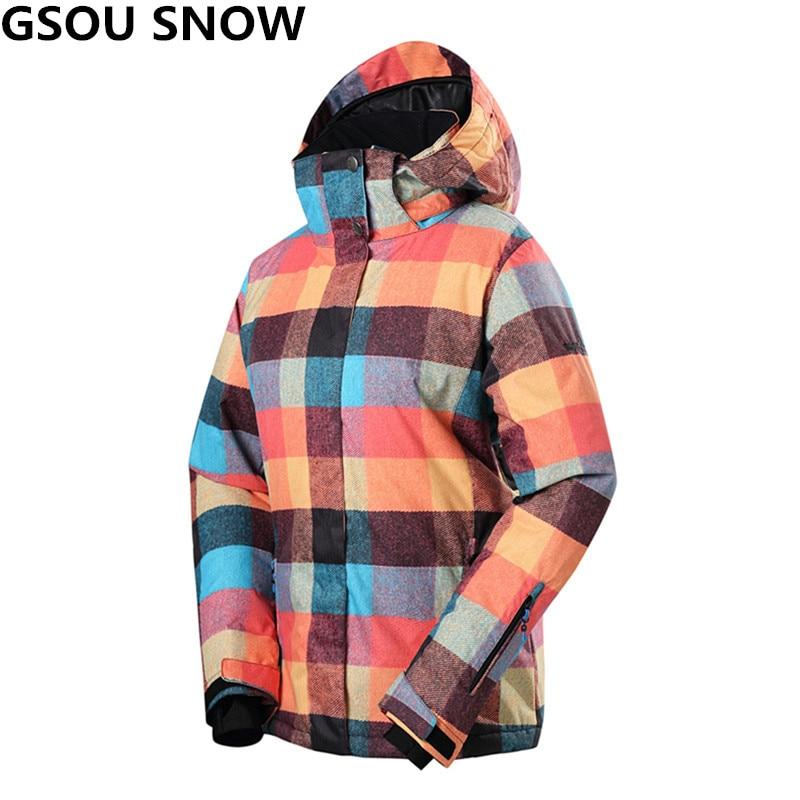 Gsou Snow winter ski jacket waterproof 10000 windproof skiing jacket women outdoor snowboard jackets profession winter snow wear