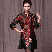 Chinese Silk Dresses Women Summer 2017 Plus Size 7XL Clothing Flowers Cheongsam Dress Red Middle Age Clothing Vintage Dress