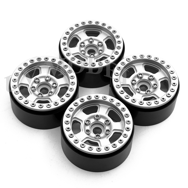 4 Pcs 1.9 inch Silver Wheels 1.9inch Beadlock Wheel Rims for 1/10 Axial SCX10 CC01 RC4WD D90 D110