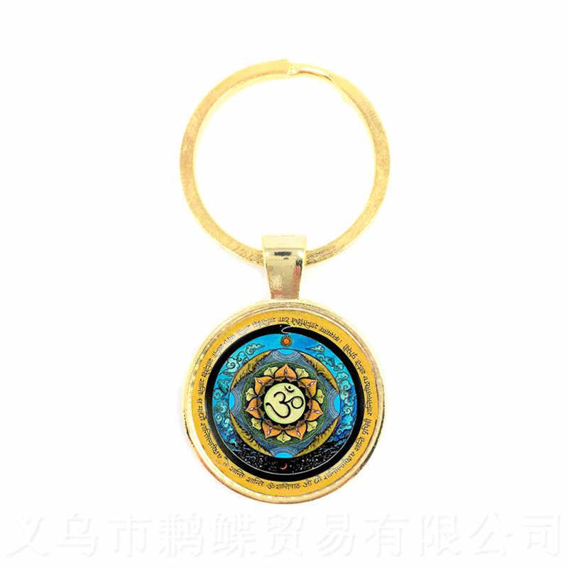 Budismo chaveiro mandala arte imagem de vidro cabochão chaveiro geometria sagrada yoga om moda jóias novo 2018 chaveiro