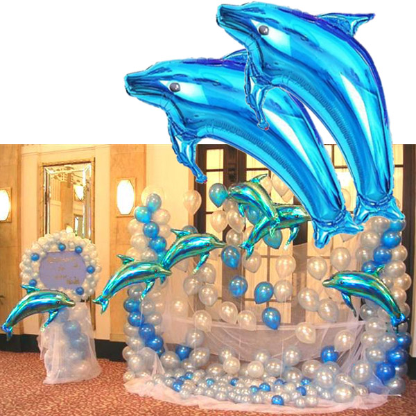 New Dolphins Balloon Foil Balloons Wedding Party Room Birthday Decoration Favor Accessories For Christmas Halloween Party  YH-17