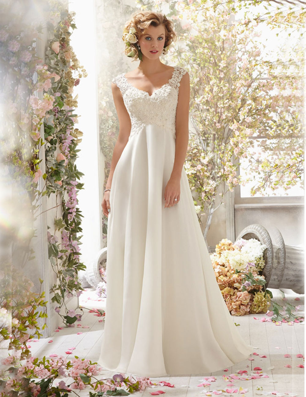 wedding dresses cheap sexy wedding dresses Classic A Line V Neck Natural Court Train Lace and Organza Ivory Sleeveless Open