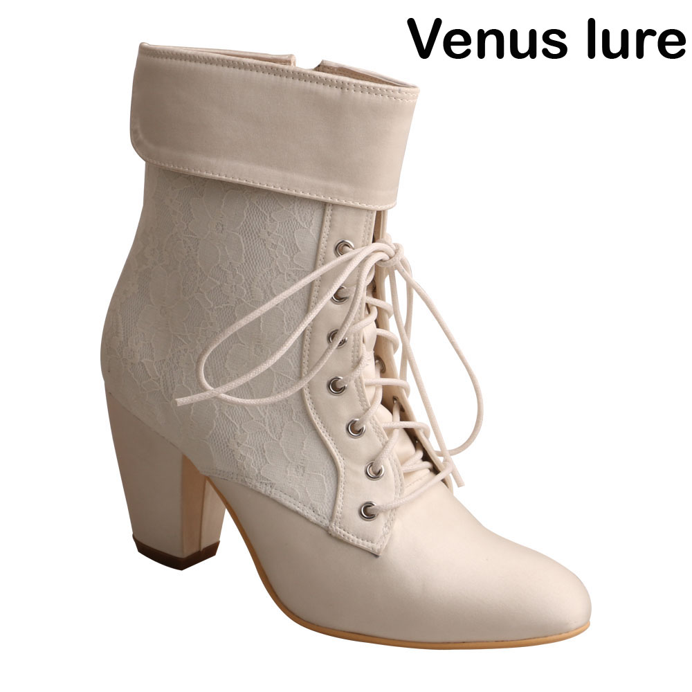 Custom Handmade Block Heel Bridal Boots Ivory Victorian Lace up Boots for Wedding more colors custom handmade ivory lace wedding shoes for women high heeled size 9