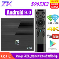 Android TV BOX 9.0 A95X F2 Amlogic S905X2 2GB 4GB 16GB 32GB 64GB 4K Smart Box TV Media Player 2.4G&5G Dual WIFI Youtube Netflix
