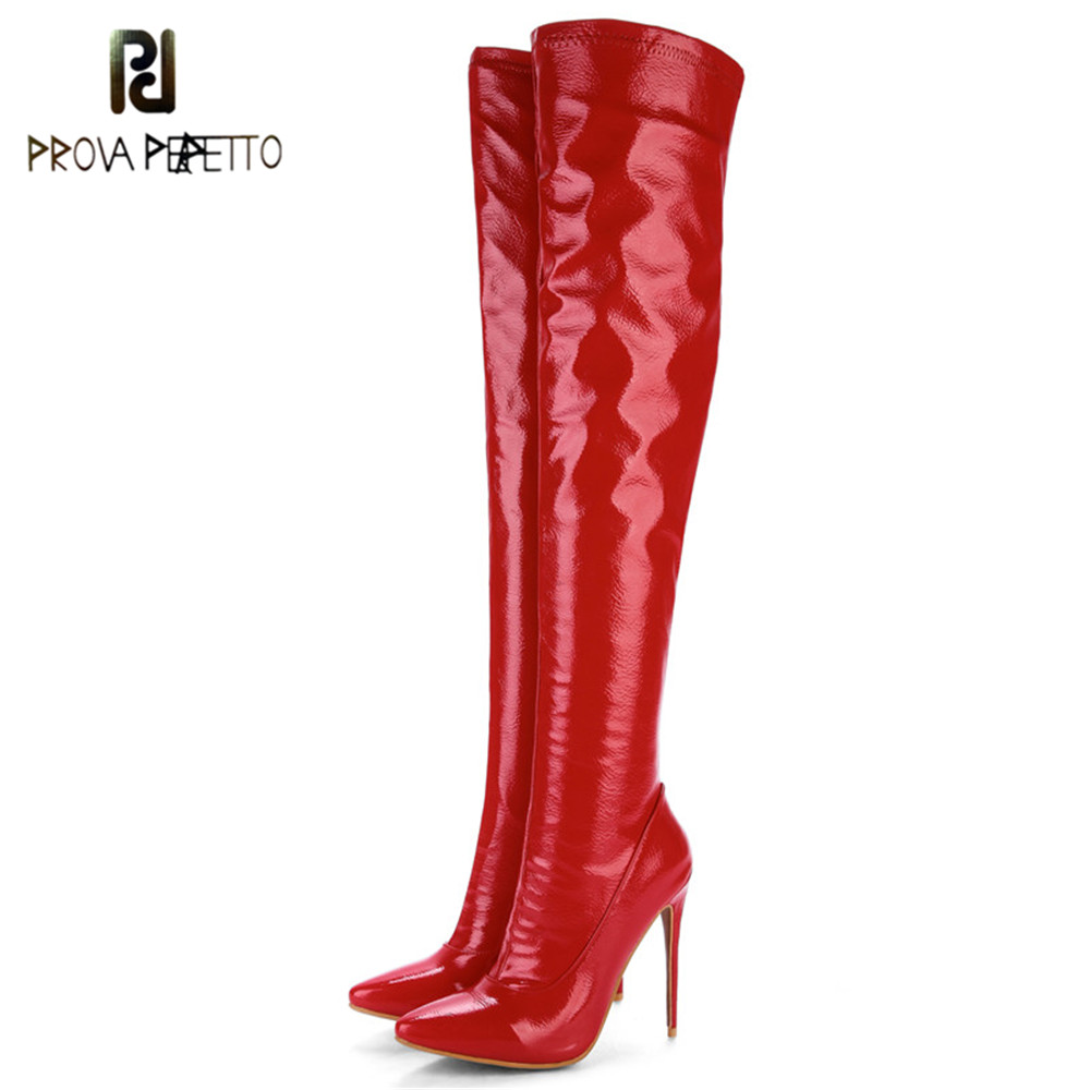 Prova Perfetto Plus Size 48 Women <font><b>Sexy</b></font> <font><b>Fetish</b></font> Dance Nightclub Party Shoes <font><b>Extreme</b></font> <font><b>High</b></font> <font><b>Heel</b></font> Women Over Knee <font><b>Boots</b></font> Thigh <font><b>Boots</b></font> image