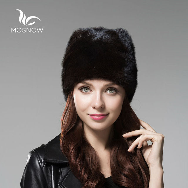 MOSNOW Genuine Whole Mink Fur Winter Hats For Women With Fur Pompons Elegant Solid Warm Beanies And Caps Female