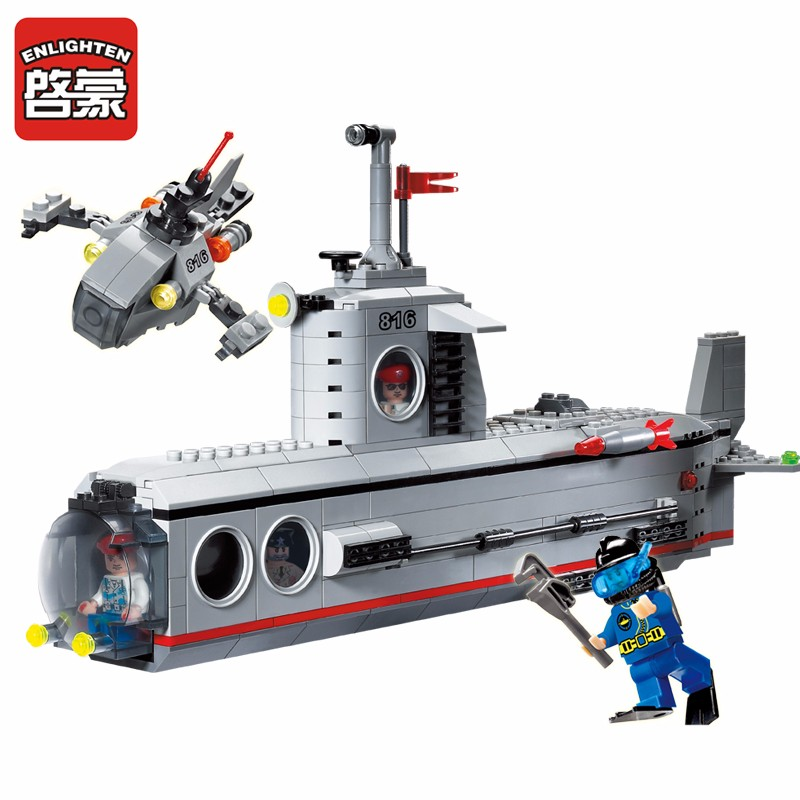 где купить Enlighten Building Blocks Military Submarine Model Building Blocks 382+pcs DIY Bricks Educational Playmobil Toys For Children дешево