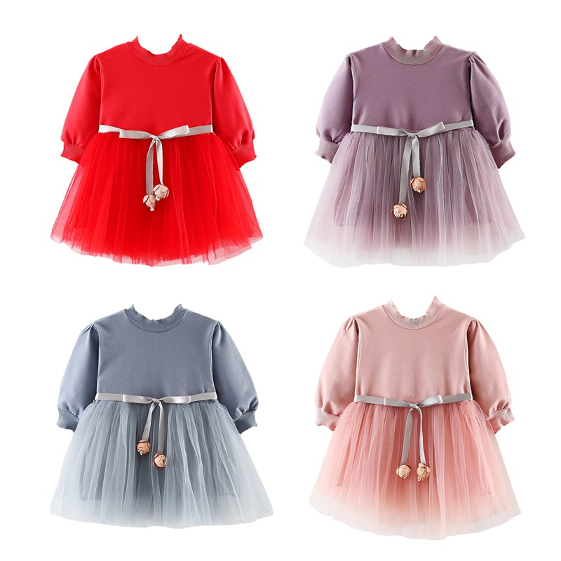 Autumn Long Sleeve Girls Dresses Mesh Birthday Princess Wedding Dress Cotton Cute Kids Dresses For Girls autumn winter kids girls knitted dress with bows long sleeve kids princess dresses for girls cotton sweater dress