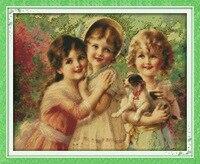 Trzy piękne anioły drukowane na płótnie dmc counted chiński cross stitch zestawy wydrukowano cross-stitch zestaw haft robótki