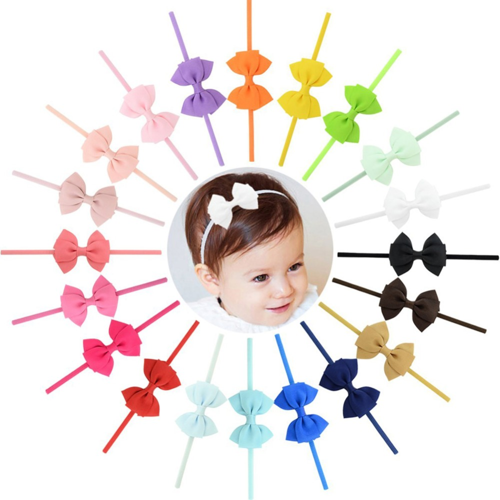 20pcs/lot  New Design kids Small Lovely Bow Tie Headband Bow-knot Grosgrain Ribbon Bow Elastic Hair Bands Hair Accessories 704