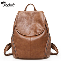 2018 New College Schoolbag Washed Leather Simple Style Backpack Woman Korean Tidal Fashion Leisure Travel Bag