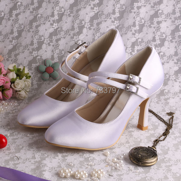 janes story ja025bwhed31 Wedopus 9cm Mary Janes Pure Color Wedding Shoes Round Toe with Buckle Decoration