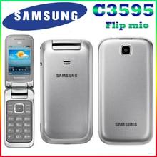 Samsung c3595 entsperrt 3g wcdma schwarz große tasten stilvolle flip handy refurbished telefon hohe qualität nur englisch langauge