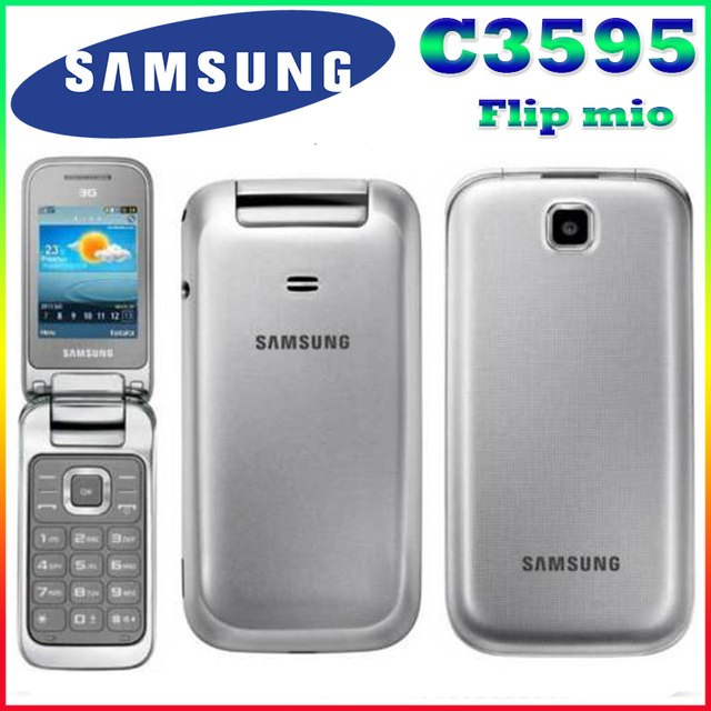 Samsung C3595 Unlocked 3G WCDMA Black Big Buttons Stylish Flip Mobile Phone Refurbished phone High quality Only English langauge