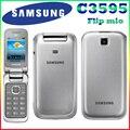 Samsung c3595 desbloqueado 3g wcdma negro grandes botones con estilo flip teléfono móvil reformado de alta calidad sólo inglés langauge