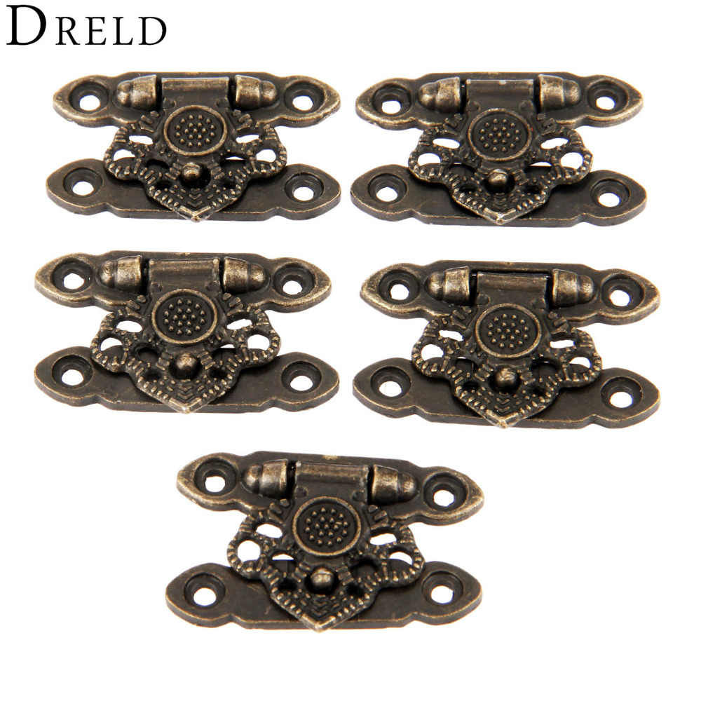 DRELD 5Pcs Antique Bronze Alloy Latch Hardware Decorative Jewelry Gift Wooden Box Suitcase Hasp Latch Hook With Screws 37*25MM 12pcs antique decorative jewelry gift wine wooden box hasp latch hook 4 screws s08 drop ship