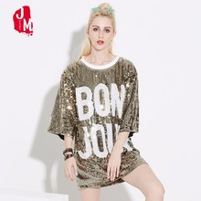 2018 Summer Women Stage Costume Party Dress Loose Letter Sequin T-shirt Street Hip-Pop Mesh Oversized Casual Long Tee Gold