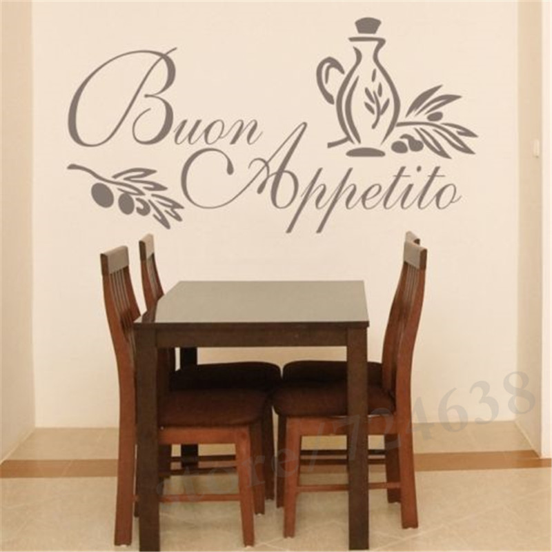 Wall Art Sticker Italian Quote Kitchen Decal Greeting Meal Vinyl Diningroom Stickers Home Decor In From Garden On Aliexpress