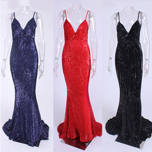 Image 5 - Sexy Silver Sequined Maxi Party Dress Stretch Floor Length Navy Sequins Backless Padded Bodycon V Neck Full Lining Black Dress