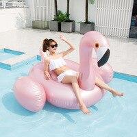 Rose Gold Inflatable Flamingo Pool Float Tube Raft Adult Giant Swimming Pool Swim Ring Summer Water Fun Toys