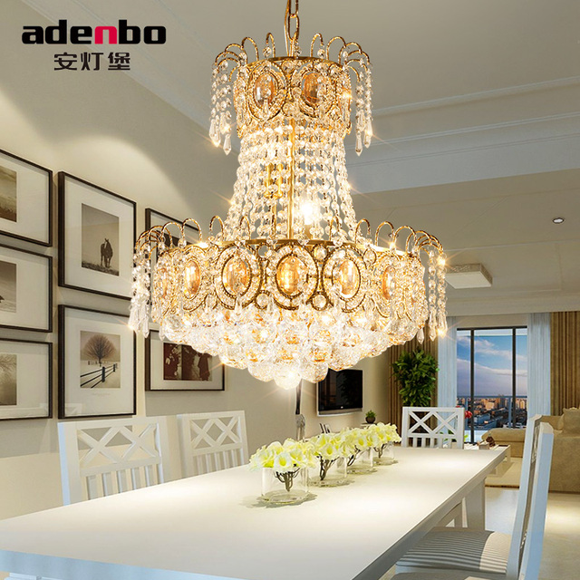 Modern Gold LED Chandelier Lighting Fixture Crystal Chandeliers Lustre Dining Room Lamp For Decoration