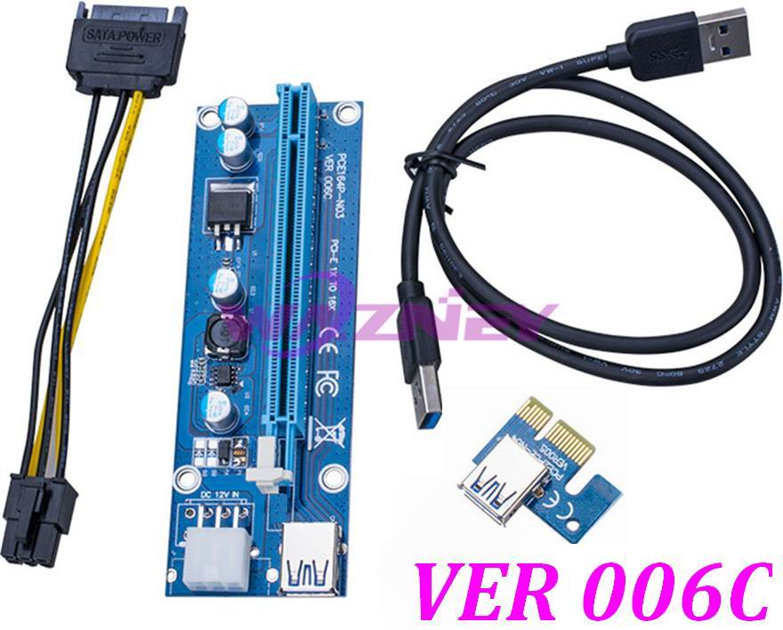 bilder für 25 stücke PCI-E PCI Express E 1X zu 16X Riser Card + USB 3.0 Daten kabel SATA 15 Pin auf 6 Pin Stromkabel VER 006C Für bitcoin mining