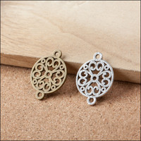 Hollow Out Floral Rose Round Jewelry Pendant Charms DIY Accessory Material Vintage Bronze Silver Alloy Bracelet