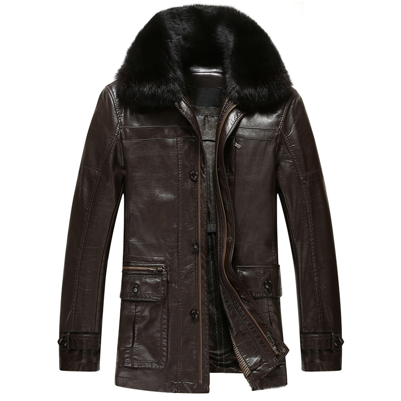 Winter Leather Jacket Mens Fur Collar PU Leather Jackets ...