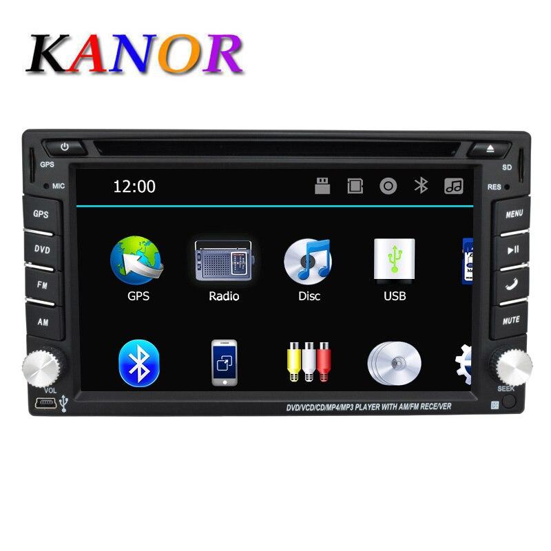 KANOR 2 din универсальный автомобильный Радио двойной dvd-плеер автомобиля gps навигации в тире автомобильного аудио стерео видео бесплатно Карта ...