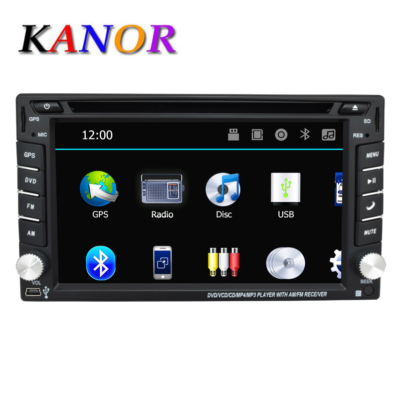 KANOR 2 din Universale Autoradio Doppio Lettore DVD Dell'automobile GPS Free Video Mappa di navigazione In dash Car Audio Stereo Car multimedia