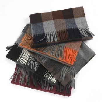100% goat cashmere women fashion England style plaid thick scarfs long tassel 30x180cm coffee 4color