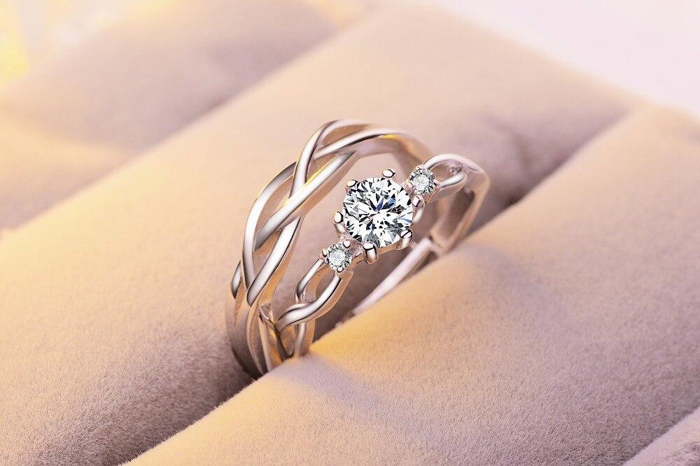 2pcs Set Couple Ring Fried Dough Twists Design Opening Wedding Ring