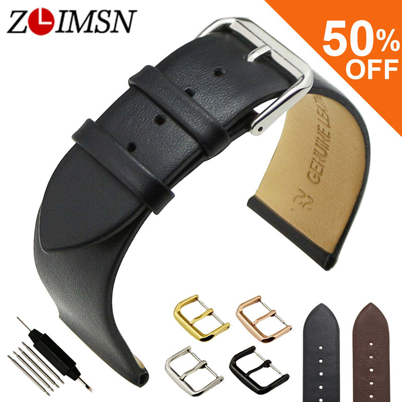 ZLIMSN Black Genuine Leather Watchbands Smooth Soft Thin Watch Band Strap Pin Buckle 18 20 22mm Belt Watches Accessories zlimsn alligator leather watch bands strap watches accessories 20 22mm black brown genuine leather watchbands butterfly buckle