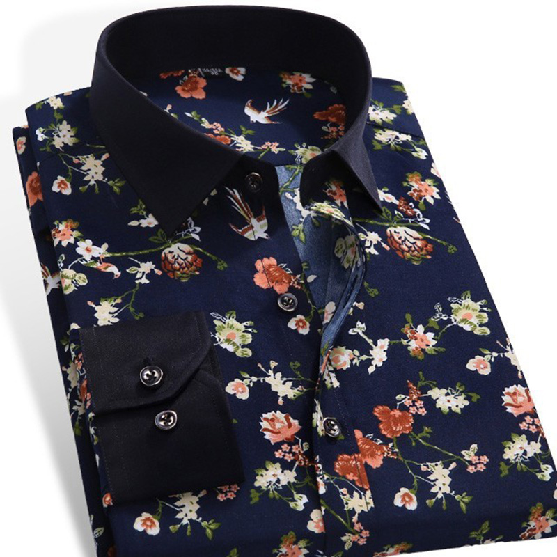 2019 Spring Floral Print Men Shirts Long Sleeve Mens Casual Shirt Slim Men Flower Printing Dress Shirts Camisa Masculina
