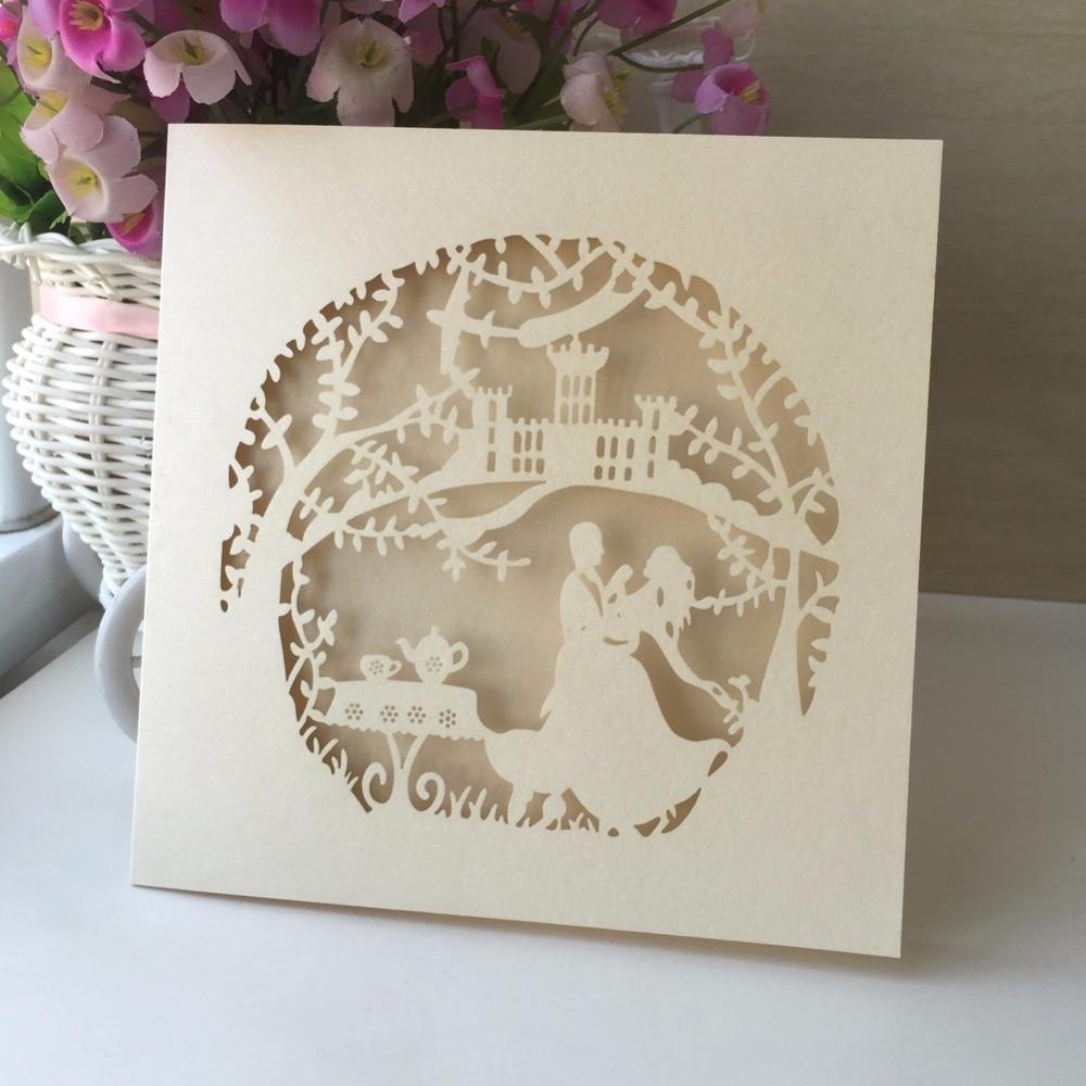 50pcs/lot Western Style Wedding Elegant Engagement Invitation Card ...
