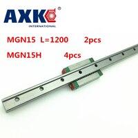 NEW 2pcs 15mm Miniature Linear Guide MGN15 L 1200mm Rail 4pcs MGN15H CNC Block For 3D