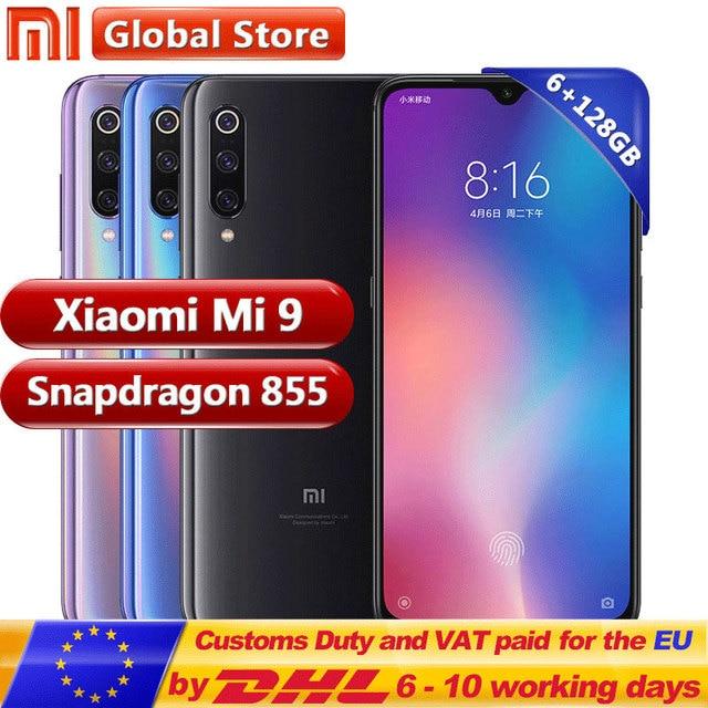"Xiaomi mi 9 mi 9 128GB ROM 6GB RAM teléfono móvil Snapdragon 855 Octa Core 6,39 ""48MP Triple Cámara en pantalla huella dactilar NFC"
