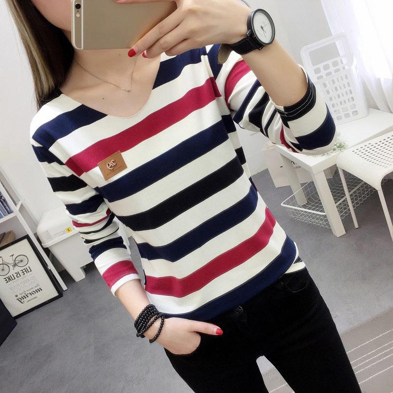 Women Autumn Long Sleeve T-shirt Colored Striped Lady Loose Fit t shirt Cotton Korean Woman Tops FS99
