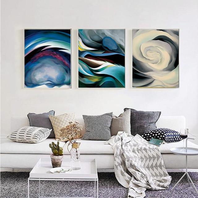 Leinwand Kunstdruck Abstrakt Farbe Wandbilder Modul Bilder Abstrakte Fluss  Einfache Moderne Nordic Stil Zu Hause Dekoration
