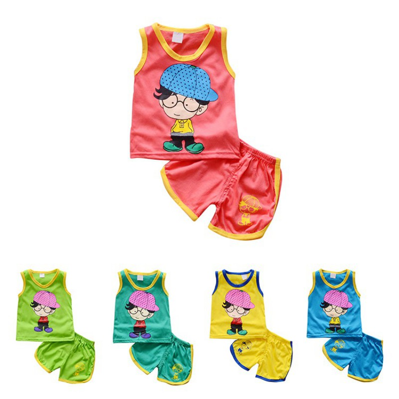 New Boys Girls Clothing Sets Cotton Suit Summer Sleeveless Vest Shorts 2pcs Suit Childre ...