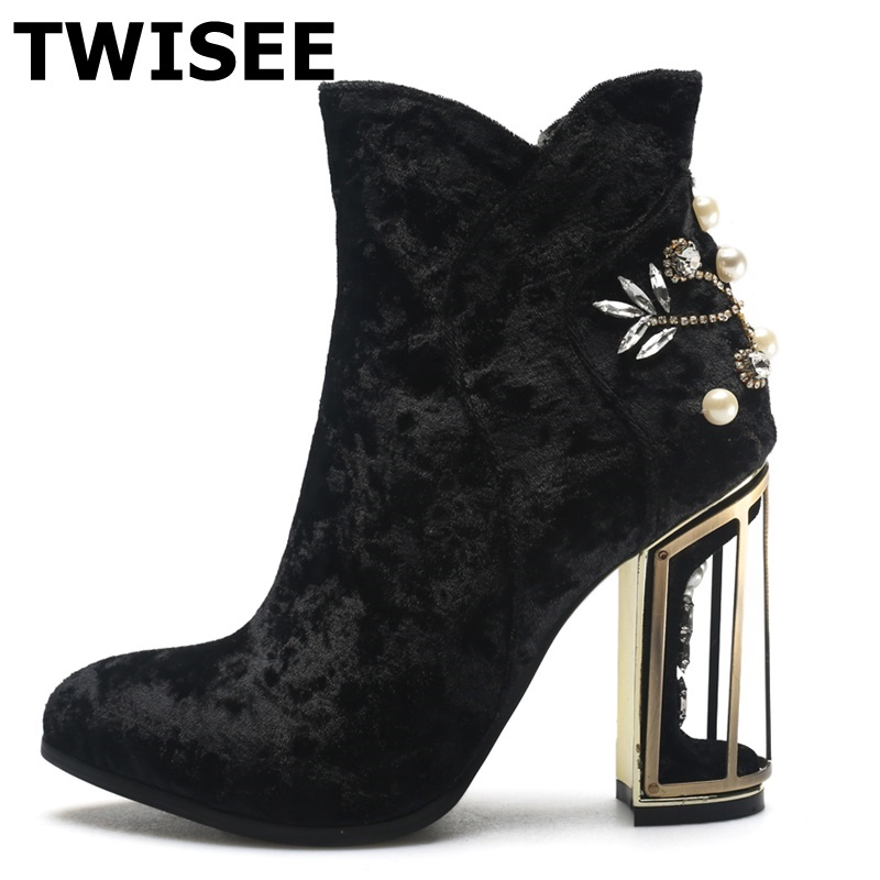 TWISEE Autumn Women's Mid-calf High-Heeled Boots Woman Shoes Star Sexy Round Toe Zip Boots Fretwork Heels shoes Crystal double buckle cross straps mid calf boots