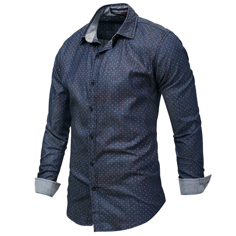Hot Sell Brand 2018 Men Polka Dot Denim Dress Shirt Long Sleeve 100% Cotton High Quality Casual Shirt Male Social Shirts 3XL 120 Lahore