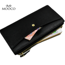 MOOCO Real Genuine Leather Women Wallet Zipper Long Wallets Female Lady Coin Card Purses Credit Card Holder